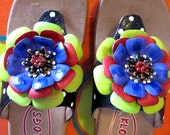 Hand painted leather Klog Sandal with flower sizes 6 7 8 9 10