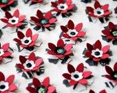 25 Handmade Paper FLOWERS - BLACK & RED Formal Mix - photomamaregina