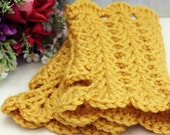 Mustard Yellow Medium Length Crochet Fingerless Gloves Feminine (Made To Order) - mytatteredwhimsies