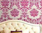 Wall Stencil Damask Gabrielle, Reusable stencils better than wallpaper, great DIY wall decor