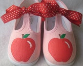 Apple Shoes Girls Pink T-Strap Back to School Painted