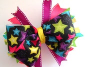 Rainbow Star  Boutique Bow with Spikes