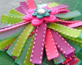 Rainbow Spiky Bow with Felt Flower and Bling Center