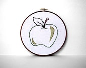 Embroidered Green Apple with Brown Stem and Hunter Green Leaf - 6 inch Hoop Art - Perfect Gift for School Teacher