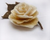 Felted  Rose Brooch. Vanilla Cream. Fiber Art Flower for Wear. Table Decor. OOAK