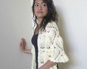 Wrap Shawl - Soft Cream White - Hand Crocheted