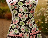 Flirty 1960s Retro Apron Black Pink & Apple Green Daisy Print