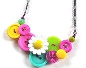 Colorful Daisy Statement Necklace Vintage Button Jewelry
