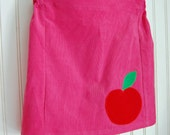 Girl's Skirt Hot Pink Corduroy with Red Apple Applique - Sizes 12-18mos, 2T, 3, 4, 5, 6, 7
