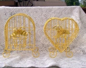 Decorative  BirdcagesShabby Chic  Weddings Two Warm Yellow Decorative Gardens Bridal Showers - CrabApplCreations