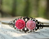 Metal Filigree headband, Antique Bronze Hair band with pink and fuchsia roses by Vintage By Rachel on Etsy.