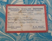WWII National Civilian Defense Air Raid Warning Card Birmingham, Alabama 1942