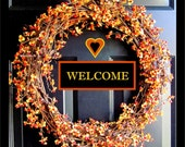 Personalized Autumn Bittersweet Wreath Welcome Photo, 10 x10, Fine Art Photograph
