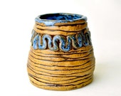 Flower Vase blue and brown wabi sabi eclectic pottery squiggles