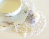 Crocheted Heart Wedding Table Decoration or Wedding Favor Cream and Lavender by Cherry Time on Etsy