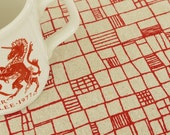 fences - screenprinted fabric in london bus red