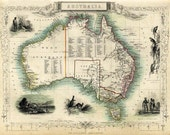 Antique Australia  map Print - 16 x 22 ""