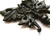Skeleton key Steampunk winged pendant Art Nouveau BLACK SATIN - HautTotes