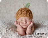 SALE Original Crochet Newborn Fall Pumpkin Hat Photography Prop in Burnt Orange