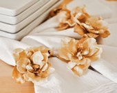 Golden Autumn Flower Napkin Rings Handmade Set of 4 with Hand Painted Brown and Rustic Cream Wooden Beads