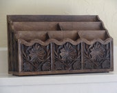 Vintage Carved Wood Look Desk Organizer, BeastlyLettuce Vintage