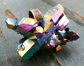 Rainbow Titanium Quartz Cluster Statement Cocktail Adjustable Ring