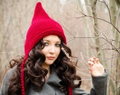 Sale 15% Off - Hand Knit Hat - Pixie Hat in Red Cranberry - Winter Accessories Winter Fashion Chunky Knit Winter Hat Spring Fashion