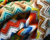 Afghan crochet 70s zigzag Missoni style vintage many colors
