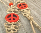 Hemp Barefoot Sandals, Natural Hemp and  Orange Peace Signs, Made to Order