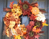 Fall Wreath Sunflowers and Pumpkins 20 inch