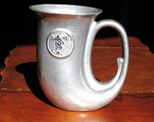 Vintage Tankard Stein Tavern Plough Horn Pewter Style Colonial Pirate Early American