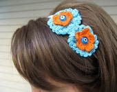 Elastic Headband with Cotton Crocheted Flowers in Turquoise Blue and Orange-OOAK