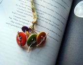 Bookmark Fall Buttons on Checkered Ribbon Book Thong