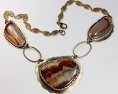 Crazy Lace and Montana Agate Necklace of Brass and Fine Silver:  Autumn Fiesta