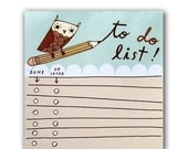 Owl TO DO LIST Notepad (blue) by boygirlparty, check list pad - grocery office organizer paper