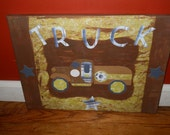 Personalized Boutique Custom Boys Truck Artwork - Pottery Barn Kids- Bryce Truck Painting