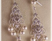 Filigree Swarovski Pear/Crystal Wedding Earrings