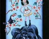 dog collage black lab girl child pet children blue art tagt team