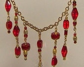 Crystal Dangle Necklace - red