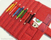 Red polka dot extra pencil roll - pocket for 12 pencils, rubber and ruler