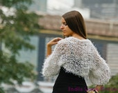 Shrug Scarf Winter White Fuzzy Knit