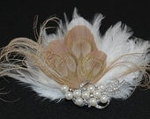 NEW - Pearls and Rhinestone Champagne Cream Peacock Bridal Feather Fascinator - Bridal.Hairpiece