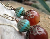 Brown Turquoise Vintage Inspired Earrings - Antiqued Brass Filigree Bead Caps