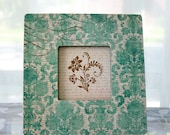 Shabby Chic Altered Frame for Pictures and Art - French Damask - Teal Fleur de Lis French Script Home Decor Room Photo Display