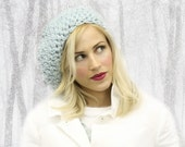 Ice Blue Flower Large Slouchy Hat MADE TO ORDER