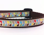 "Dog Collar with Multicolored Leaves - 3/4 inch width - ""Addison"" - BiscuitandGravy"