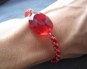 Red Chainmaille Spiral Chain Bracelet with Crystal