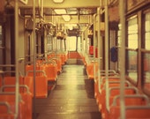 Seats of Milan tram - 6x8 wall decor - orange - autumn colors