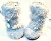 Perfect for Winter- Light Blue Fur Baby Boy Boots Mukluk Style