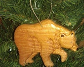 Bear Christmas Ornament Hand Carved Decoration